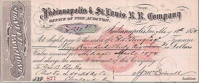 Indianapolis & St. Louis R. R. Co. May 18, 1872. Indianapolis, Ind.