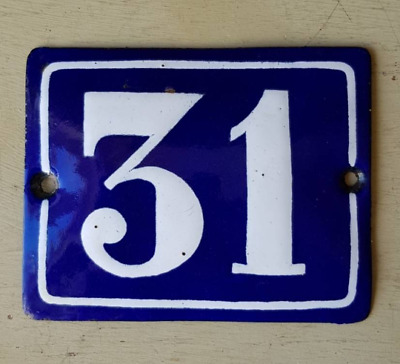 Antique French Industrial Traditional Blue & White Enamel Door / House Number 31