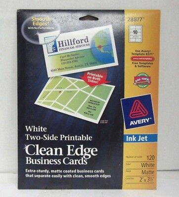 AVERY #28877 Clean Edge Matte White Ink Jet White Business Cards 120