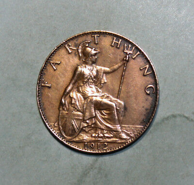 Great Britain 1 Farthing 1912 Extremely Fine +++ Coin - King George V