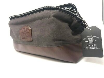 Brompton & Langley For Men Shave Bag/Dopp Kit Leather & Canvas NEW Free Shipping
