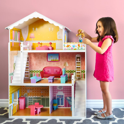 Large Childrens Wooden Dollhouse Barbie Doll House Pink Furniture Playroom Dolls