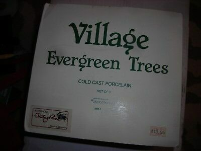 """Dept 56 Heritage Village """"Evergreen Trees"""" Set of 3 with Box 5205-1"""