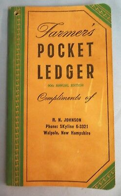 Farmers Pocket Ledger John Deere 1956-57 R.N. Johnson Walpole NH New Hampshire