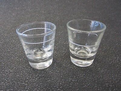 Vintage Anchor Hocking His And Hers 2 Shot Glasses - Marked - Shot And Half Shot