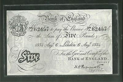 GREAT BRITAIN BANK OF ENGLAND FIVE POUNDS LONDON 1934 Currency Note Paper money