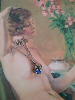 antique vintage 14K gold filled chain and beautiful blue stones, filigree...