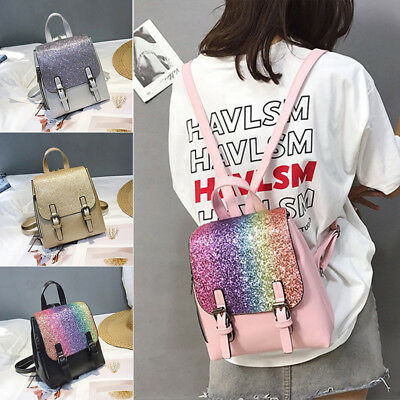 2567e35d0e Travel Flap Gold Sequins Small School Bag Outdoor PU Leather Backpack  MultiColor