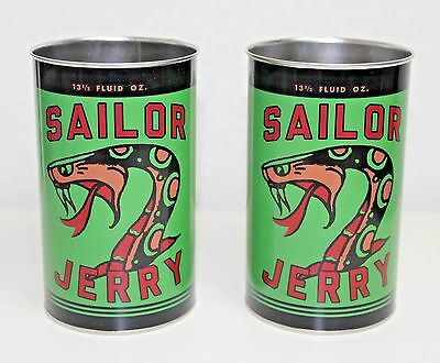 NEW RARE Sailor Jerry Spiced Rum Green Metal Tin Cups w/ Snake Set of 2. 13.5oz