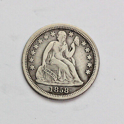 1858-Silver-Philadelphia-Mint-Seated-Liberty-Dime**NO ARROWS** (XF)