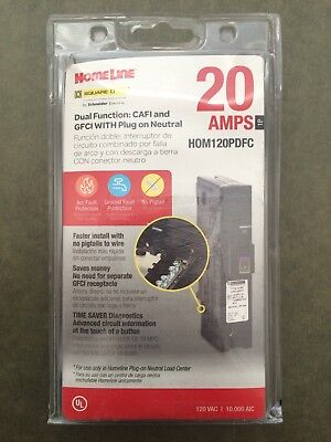 Square D HomeLine 20A CAFI & GFCI Plug-on Neutral Circuit Breaker HOM120PDFC NEW