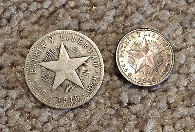 (2) Libertad's 1915 & 1948 ~ 20 & 10 Centavos both 90% Silver Coins FREE S/H