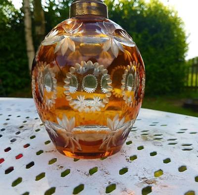Stunning Antique French-found Bohemian Amber Glass Petit Globe Lamp Base