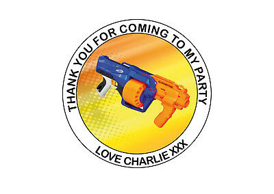 Personalised Nerf Gun Birthday Party bag Thank You 40mm Round Stickers 24