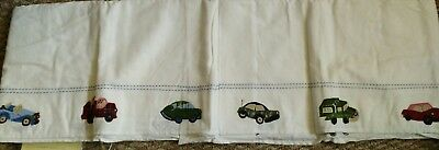 New Pottery Barn Kids CARS and TRUCKS Crib Skirt baby bedskirt embroidered