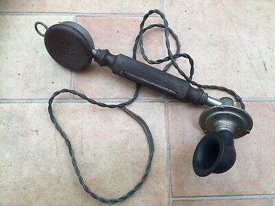 1920's Vintage Antique Bakelite Telephone Receiver with Twisted Cord