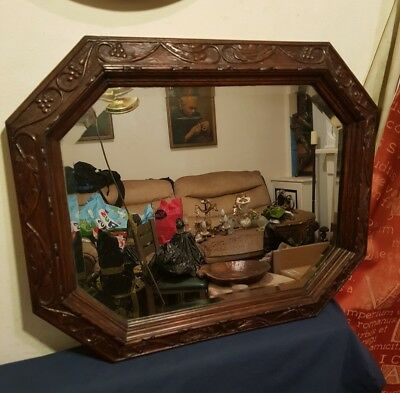 Beautiful Victorian Hand Carved Mahogany Wall Mirror with Bevelled Glass c 1890
