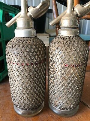 "Sparklets Standard ""D"" Soda Syphon - Glass Covered with Mesh, Made in England"
