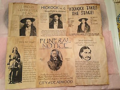 Set Of 6 Vintage Old West Wanted Poster Hickok Wild Bill Deadwood Gunfighter