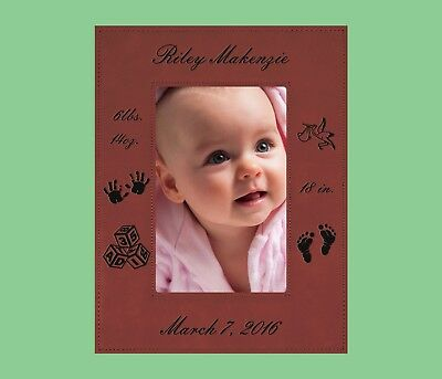 Personalized Custom Engraved New Born Baby Leatherette Picture Frame