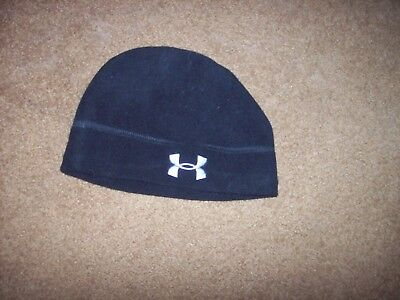 Under Armour Boy's One Size Fits Most Beanie Type Hat Black Pre-Owned 100% Polye