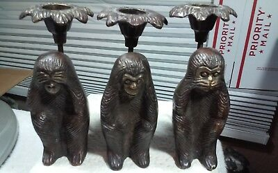 3 cast bronze?metal monkey sculptures,see,hear,speak no evil,candle holders