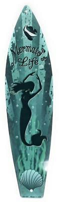 MERMAID'S LIFE Aluminum SURFBOARD Sign Wall Decor 4.5x17 in. Metal Surf Plaque