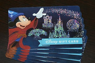 NEW 2017 Disney Gift Card 4 Four Parks Sorcerer Mickey Glitter No Cash Value WDW