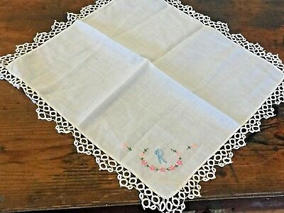 1950s Vintage Letter R Floral Hand Embroidered Cotton Handkerchief, Lace Edged