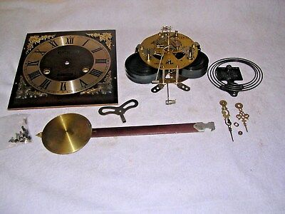 CLOCK  PARTS,MOVEMENt,CHIME, HANDS,PENDULUM ,KEY   w
