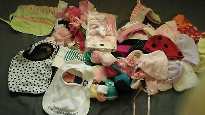 Lot Of 40  Baby Girl Hats, Scratch Mittens & Hair Bow's, Socks New