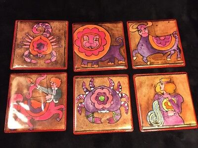 6 VINTAGE ZODIAC COASTERS PLASTIC ASTROLOGICAL MOD 60's 70's ART