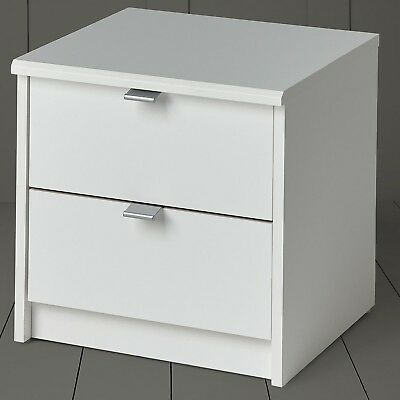 NEW Tesco Smith 2 Drawer Bedside Table (White)