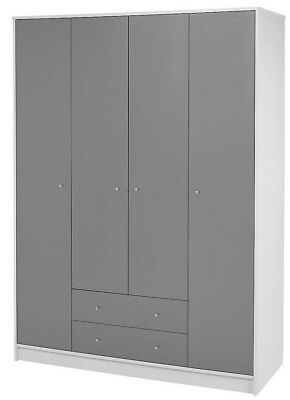 NEW Tesco Tolke 4 Door Wardrobe with 2 Drawers & Hanging Rails - (Grey & White)