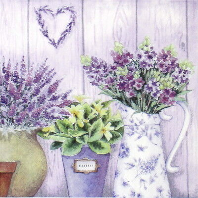 4x Paper Napkins for Decoupage Decopatch Craft Lilac Flowers with Heart