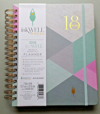 Unused 2018 Planner InkWell Press Weekly Monthly At A Glance Blue Pink IP620M805