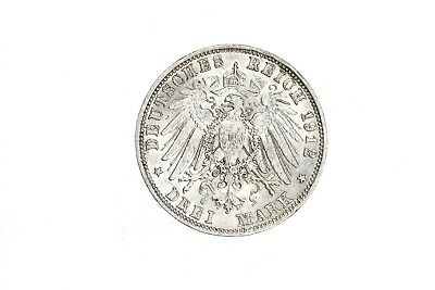1912-D Bavaria Otto 3 Mark Germany AU About Unc Silver Coin KM#996 RARE!! 2D11