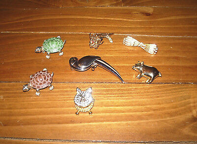 SEVEN Brooches, Turtles, Pig, Parrot, Catfish, Bow & Another Pig