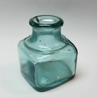 ANTIQUE TEAL BLUE GLASS INKWELL BOTTLE- w/ SUSPENDED BUBBLES #5