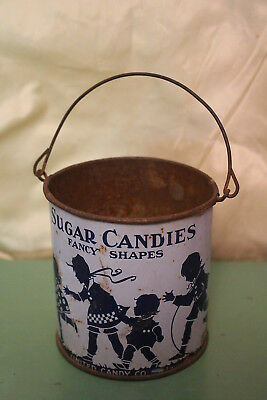 Vintage Sugar Candies Advertising Tin Pail Country Store Children Playing Old