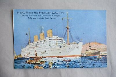 Old Shipping Postcard P & O Electric Ship Strathaird