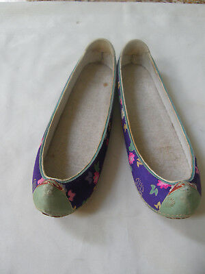 Antique Vintage Korean Asian Silk Boat Shaped Shoes Leather Bottoms, Iron Nails