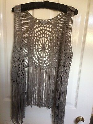 Lovely Vintage Crotched fringed waistcoat . Ladies size L.