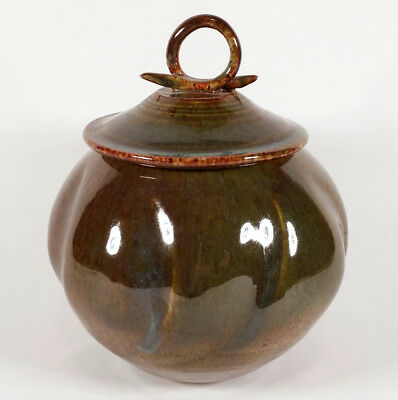 Nicely Made Studio Art Pottery Jar Vessel Lidded Vase Loop Handle Mystery Maker