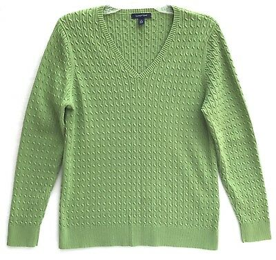 Lands End Womens Sweater V Neck Supima Cotton Size L Textured Cable