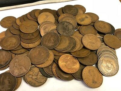 100 x Vintage British Large One Penny, UK copper Pennies Victoria to QEII lot#81