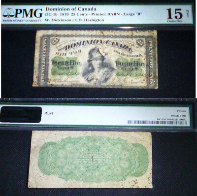 """25 Cents Dominion Of Canada 1870 Large """"b""""  Pmg 15"""