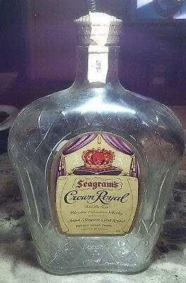 1967 Glass Seagram's Crown Royal 1/5Th Empty Bottle Alcohol Whiskey Art Craft !!