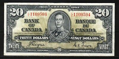 "Canada - 1937 Bank of Canada 20 Dollar Banknote P62c VF+""King George VI"""