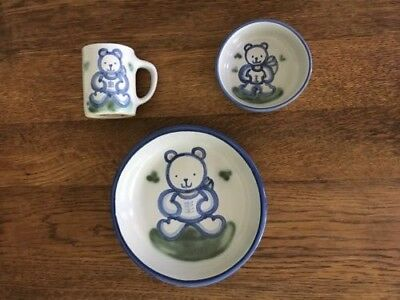 New! M A Hadley Childs Stoneware Teddy Bear 3 Piece Feeding Set - Mug Plate Bowl